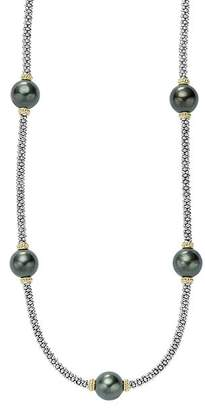 """Lagos 18K Gold and Sterling Silver Luna Cultured Tahitian Pearl Five Station Necklace, 18"""""""