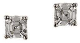 Diamonique 1.00 ct tw Asscher Stud Earrings, 14K Gold