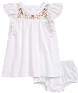 Nordstrom Embroidered Flutter Sleeve Dress