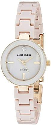 Anne Klein Women's AK/2660TNGB Diamond-Accented Gold-Tone and Tan Ceramic Bracelet Watch