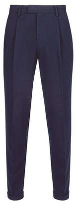 Mens Navy Soft Touch Tapered Fit Trousers