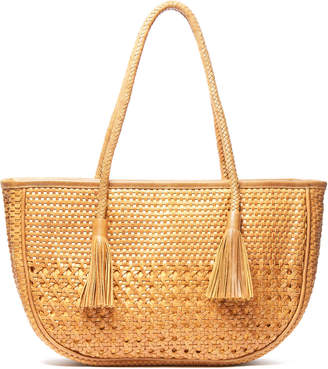 Ricki Designs Woven Leather Tassel Tote Bag
