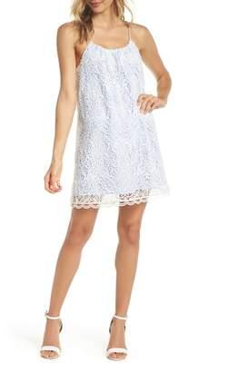 BB Dakota Pinstripe Cotton Lace Shift Dress