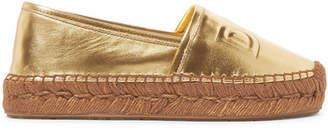 Dolce & Gabbana Logo-embossed Metallic Leather Espadrilles - Gold
