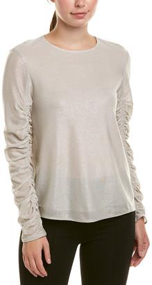 Tibi Lurex Draped Silk-Lined Top