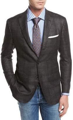 Kiton Windowpane Cashmere-Silk-Linen Sport Coat, Gray/Camel $7,495 thestylecure.com