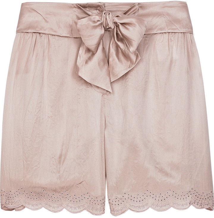 See by Chloé Scalloped silk-satin shorts