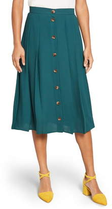 ModCloth Button-Front Pleated Midi Skirt