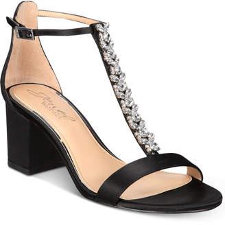 Badgley Mischka Lindsey Block-Heel Evening Sandals