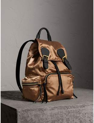 Burberry The Medium Rucksack in Two-tone Nylon and Leather, Yellow