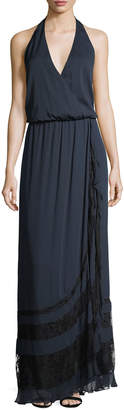 Haute Hippie Johnny Guitar Sleeveless Halter Evening Gown w/ Lace