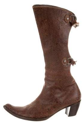Henry Beguelin Leather Pointed-Toe Mid-Calf Boots