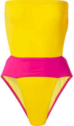 569dbcd8f3 Karla Colletto Helene Cutout Color-block Swimsuit - Yellow