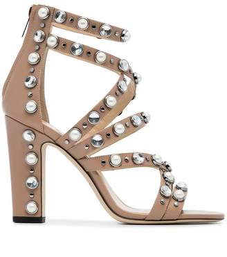 Jimmy Choo Pink Jewel Moore 100 leather sandals