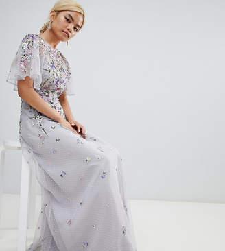 Asos DESIGN Petite floral embroidered dobby mesh flutter sleeve maxi dress