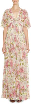 Giambattista Valli Floral-Print Short-Sleeve Tiered Gown