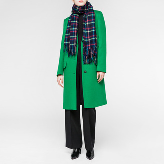 Women's Navy 'Border' Check Lambswool-Cashmere Scarf $195 thestylecure.com