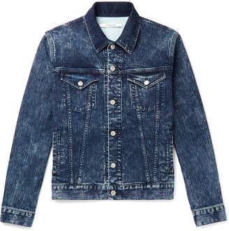 Givenchy Slim-fit Logo-print Washed Stretch-denim Jacket - Blue