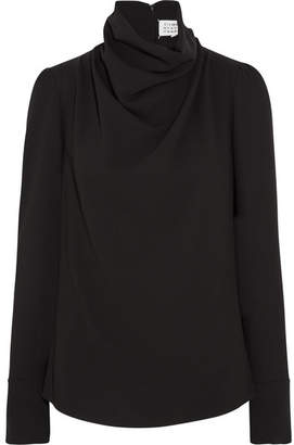Maison Margiela - Draped Crepe Blouse - Black $915 thestylecure.com