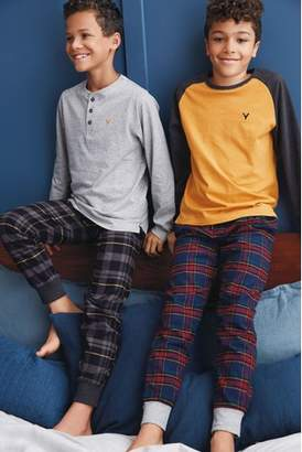 Next Boys Ochre Woven Check Pyjamas Two Pack (3-16yrs)