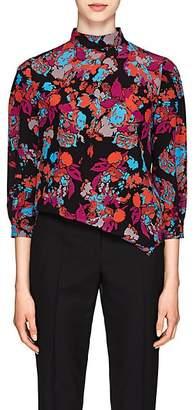 Givenchy Women's Fire Flower-Print Silk Top - Black