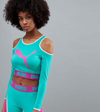 Puma Exclusive To Asos Long Sleeve Cut Out Crop In Green