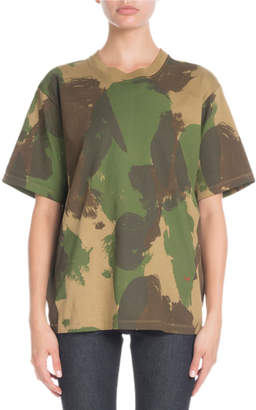 Victoria Beckham Crewneck Short-Sleeve Camo-Print Cotton T-Shirt