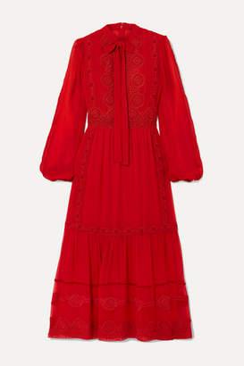Costarellos Pussy-bow Crochet-trimmed Silk-blend Crepe De Chine Midi Dress - Red
