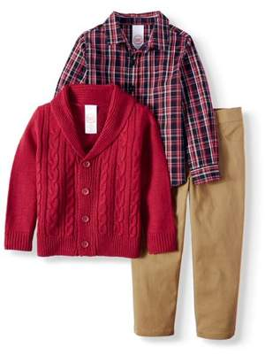 Wonder Nation Cardigan Sweater, Woven Button-up Shirt & Twill Pants, 3pc Outfit Set
