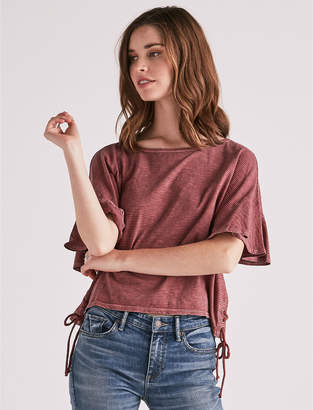 Lucky Brand STRIPE LACE UP RUFFLE TEE