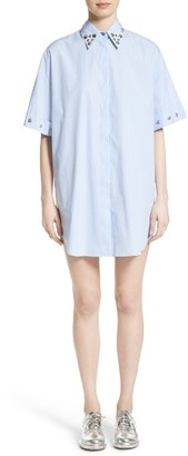 Women's Mm6 Maison Margiela Snap Detail Microstripe Poplin Dress $480 thestylecure.com