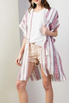 Easel Tribal Linen Kimono