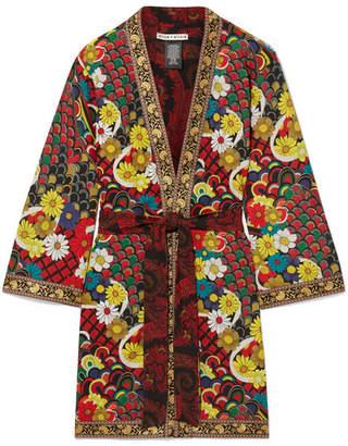 Alice + Olivia Lynn Jacquard-trimmed Printed Crepe De Chine Kimono