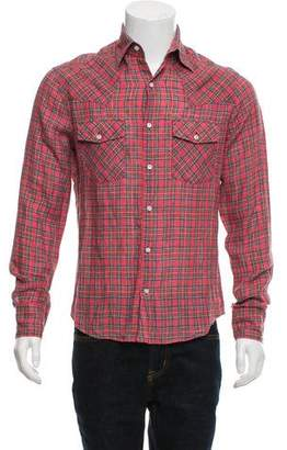 Michael Bastian Linen Hunter Plaid Button-Up Shirt