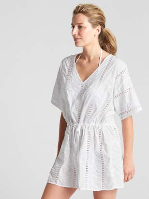 Gap Short Sleeve Eyelet Embroidered Caftan Cover-Up