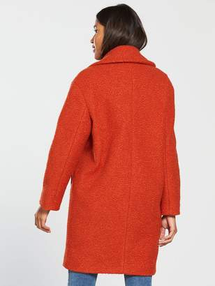 Very Oversized Double Breasted Boucle Coat - Rust