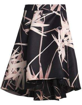 Halston Asymmetric Printed Satin Skirt