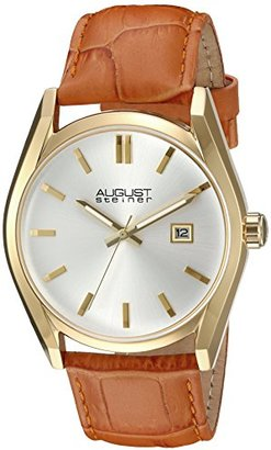 August Steiner Women 'sゴールド調Case With White Dial and Alligatorエンボス本革オレンジストラップウォッチas8221or