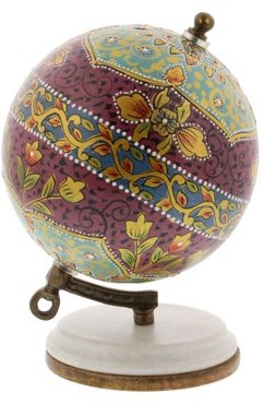 DecMode Decmode Modern 7 Inch Multicolored Resin And Wood Decorative Lattice Globe, Multicolor