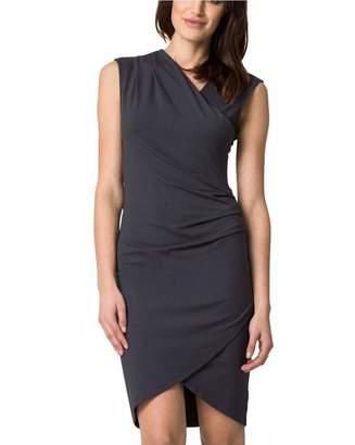 Le Château Women's Knit Faux Wrap Dress,L