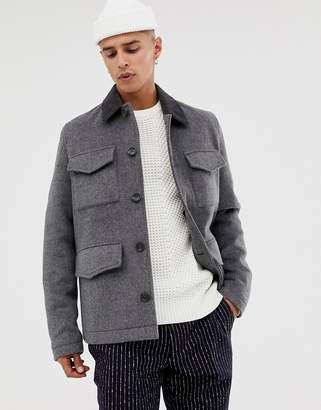 Asos Design DESIGN wool mix field jacket with cord collar in charcoal