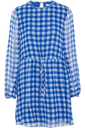 Diane von Furstenberg Gathered Gingham Silk-Georgette Mini Dress