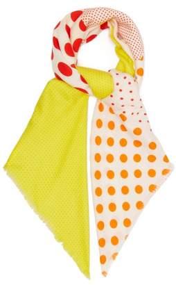 Loewe Polka Dot Print Wool Blend Scarf - Womens - Yellow