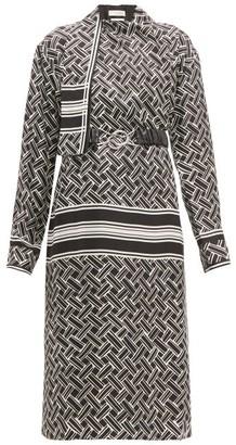 Bottega Veneta Patterned Drape Neck Silk Twill Wrap Dress - Womens - Black White