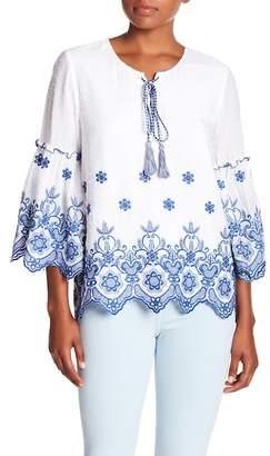 Karen Kane Embroidered Bell Sleeve Tie Neck Top