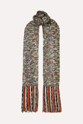 Missoni Fringed Crochet-knit Scarf - Green