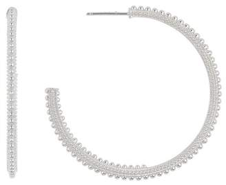 Judith Ripka Sterling Silver Classic Beaded 46mm Hoop Earrings