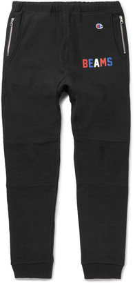 Beams + Champion Slim-Fit Tapered Loopback Cotton-Blend Jersey Sweatpants $185 thestylecure.com