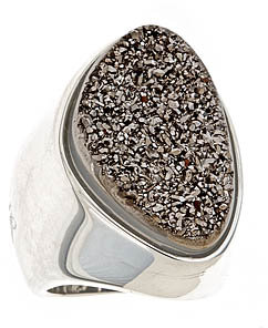 Christine Darren Charcoal Druzy Chunky Ring