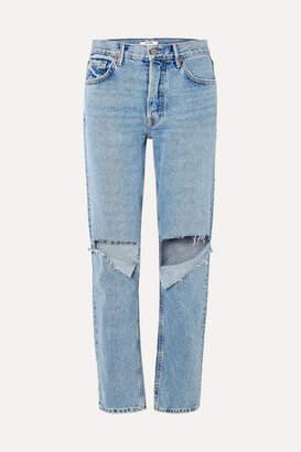 GRLFRND Helena Distressed Mid-rise Straight-leg Jeans - Mid denim